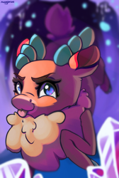 Size: 1625x2411 | Tagged: safe, artist:nookprint, velvet reindeer, deer, reindeer, them's fightin' herds, community related, female, looking at you, solo, tongue out