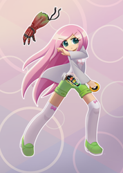 Size: 1000x1407 | Tagged: safe, artist:howxu, fluttershy, human, clothes, commission, digital art, female, humanized, kamen rider, kamen rider ooo, solo