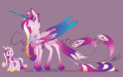 Size: 1280x805 | Tagged: safe, artist:crystalcontemplator, princess cadance, alicorn, pony, alternate design, chest fluff, cloven hooves, colored wings, colored wingtips, crystal horn, ear fluff, feather, feathered fetlocks, female, fluffy, gray background, horn, leg fluff, leonine tail, looking at you, mare, multicolored wings, neck fluff, peacock feathers, signature, simple background, smiling, solo, tail feathers, unshorn fetlocks, wing fluff, wings