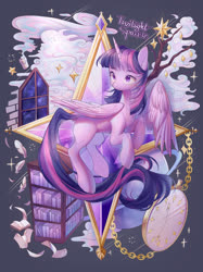 Size: 2249x3000 | Tagged: safe, artist:leafywind, twilight sparkle, alicorn, pony, book, bookshelf, candle, clock, cloud, colored pupils, female, high res, mare, missing cutie mark, pocket watch, solo, tree branch, twilight sparkle (alicorn)