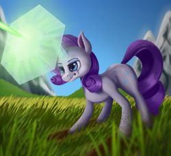 Size: 3600x3300 | Tagged: safe, artist:sanroys, rarity, the ending of the end, blast, dirty hooves, fight, force field, gritted teeth, implied queen chrysalis, scene interpretation