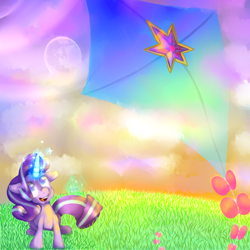Size: 1200x1200 | Tagged: safe, artist:toubabo, starlight glimmer, pony, unicorn, female, full moon, glowing horn, hill, horn, kite, kite flying, magic, mare, mare in the moon, moon, no more ponies at source, smiling, solo, telekinesis, that pony sure does love kites, twilight (astronomy)