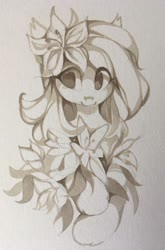 Size: 2667x4032 | Tagged: safe, artist:share dast, lily, lily valley, earth pony, pony, female, mare, monochrome, solo, traditional art
