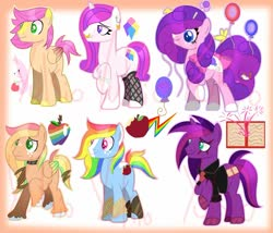 Size: 1280x1097 | Tagged: safe, artist:yukiothevulpix, oc, oc only, earth pony, pegasus, pony, unicorn, balloon, balloon animal, base used, blaze (coat marking), bow, candy, choker, clothes, earth pony oc, eye scar, fishnets, food, foot wraps, freckles, hoof wraps, horn, magical lesbian spawn, male, necktie, nose piercing, nose ring, obtrusive watermark, offspring, parent:applejack, parent:big macintosh, parent:fluttershy, parent:pinkie pie, parent:rainbow dash, parent:rarity, parent:tempest shadow, parent:twilight sparkle, parents:appledash, parents:fluttermac, parents:raripie, parents:tempestlight, pegasus oc, piercing, scar, shirt, simple background, stallion, tail bow, unicorn oc, unshorn fetlocks, watermark, white background, wings