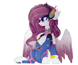 Size: 3000x2498 | Tagged: safe, artist:yui1morgan, oc, oc only, oc:astral heart, pegasus, clothes, cosplay, costume, d.va, female, overwatch, simple background, solo, transparent background, ych result