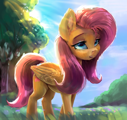 Size: 938x885 | Tagged: safe, artist:appletree12112, artist:xbi, color edit, edit, fluttershy, pegasus, pony, colored, crepuscular rays, cute, ear fluff, female, folded wings, looking at you, mare, open mouth, outdoors, shyabetes, solo, standing, three quarter view, tree, wings