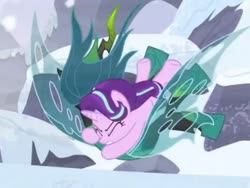 Size: 1065x799 | Tagged: safe, screencap, queen chrysalis, starlight glimmer, pony, the ending of the end, spoiler:s09e24, spoiler:s09e25, cropped, fight, snow, tackle, ultimate chrysalis