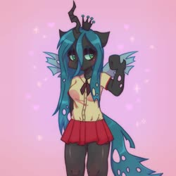 Size: 2333x2333 | Tagged: safe, artist:morbidspitt, queen chrysalis, anthro, arm hooves, clothes, female, lidded eyes, pleated skirt, shirt, skirt, solo