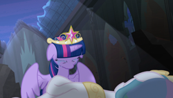 Size: 1920x1080 | Tagged: safe, screencap, princess celestia, twilight sparkle, alicorn, princess twilight sparkle (episode), big crown thingy, castle of the royal pony sisters, crying, deadlestia, element of magic, jewelry, regalia, twilight sparkle (alicorn)
