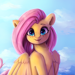 Size: 4000x4000 | Tagged: safe, artist:miokomata, fluttershy, pegasus, pony, absurd resolution, bust, chest fluff, cute, digital art, fangs, female, freckles, freckleshy, mare, open mouth, portrait, shyabetes, signature, smiling, solo