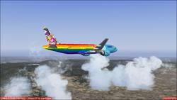 Size: 1366x768 | Tagged: safe, artist:electrahybrida, applejack, fluttershy, pinkie pie, rainbow dash, rarity, sunset shimmer, twilight sparkle, equestria girls, forgotten friendship, spoiler:eqg series, boeing 777, cloud, cutie mark, mountain, pause, plane, rainbow, sky, the rainbooms, the rainbooms tour plane