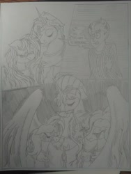 Size: 1944x2592 | Tagged: safe, artist:princebluemoon3, oc, oc:aerial agriculture, oc:earthing elements, oc:heartstrong flare, oc:princess healing glory, oc:princess mythic majestic, oc:princess sincere scholar, oc:tommy the human, alicorn, human, pony, comic:the chaos within us, alicorn oc, alicorn princess, barrier, black and white, canterlot, canterlot castle, captive, chained, chaos, clothes, comic, commissioner:bigonionbean, confused, crying, dialogue, drawing, dream, female, fusion, fusion: princess healing glory, fusion:aerial agriculture, fusion:earthing elements, fusion:heartstrong flare, fusion:princess mythic majestic, fusion:princess sincere scholar, glasses, grayscale, herd, human oc, magic, male, monochrome, mother and child, mother and son, night, nightmare, prisoner, rubble, sad, separation, shocked, shocked expression, tears of pain, teary eyes, throne room, traditional art, uniform, wings, wonderbolt trainee uniform, writer:bigonionbean