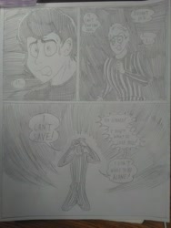 Size: 1944x2592 | Tagged: safe, artist:princebluemoon3, oc, oc:tommy the human, human, comic:the chaos within us, barrier, black and white, canterlot, canterlot castle, clothes, comic, commissioner:bigonionbean, crying, dialogue, drawing, dream, grayscale, human oc, male, monochrome, night, nightmare, sad, shocked, shocked expression, tears of pain, teary eyes, throne room, traditional art, writer:bigonionbean