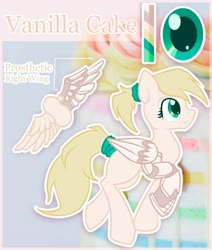 Size: 1024x1210 | Tagged: safe, artist:amura-of-jupiter, oc, oc:vanilla cake, cyborg, pegasus, robot, amputee, artificial wings, augmented, blank flank, blonde, blonde hair, cake, commission, cream coat, cyan eyes, facing right, female, female oc, food, hairband, long tail, looking up, pegasus oc, ponytail, prosthetic leg, prosthetic limb, prosthetic wing, prosthetics, raised hoof, reference, reference sheet, robotic legs, robotic wing, smiling, solo, text, trotting, wings