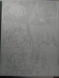 Size: 1944x2592   Tagged: safe, artist:princebluemoon3, oc, oc:king speedy hooves, oc:queen galaxia, oc:tommy the human, alicorn, human, pony, comic:the chaos within us, alicorn oc, alicorn princess, barrier, black and white, canterlot, canterlot castle, captive, chained, chaos, clothes, comic, commissioner:bigonionbean, confused, crater, crying, dialogue, drawing, dream, female, fusion, fusion:king speedy hooves, fusion:queen galaxia, grayscale, herd, human oc, kissing, magic, male, monochrome, mother and child, mother and son, night, nightmare, prisoner, rubble, sad, separation, shocked, shocked expression, tears of pain, teary eyes, throne room, traditional art, writer:bigonionbean