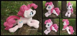 Size: 3720x1754 | Tagged: safe, artist:peruserofpieces, pinkie pie, earth pony, pony, beanie (plushie), female, looking at you, mare, photo, plushie, prone, smiling, tree