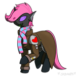 Size: 1050x1050 | Tagged: safe, artist:skydreams, oc, oc only, oc:pixie wing, changeling, fallout equestria, changeling oc, clothes, ncr ranger, pink changeling, purple changeling, scarf, simple background, socks, solo, sticker, transparent background