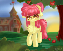 Size: 2200x1800 | Tagged: safe, artist:kindny-chan, apple bloom, pony, adorabloom, apple, apple tree, blushing, cheek fluff, chest fluff, cute, ear fluff, leg fluff, looking at you, smiling, solo, tree