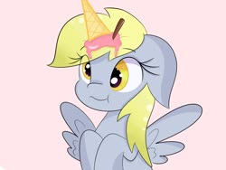Size: 1600x1200   Tagged: safe, artist:janelearts, derpy hooves, pegasus, pony, derp, female, food, ice cream, ice cream horn, mare, simple background, smiling, solo, spread wings, wings