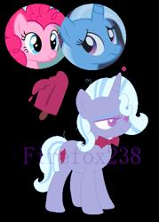 Size: 427x595   Tagged: safe, artist:firefox238, pinkie pie, trixie, oc, female, lesbian, magical lesbian spawn, offspring, parent:pinkie pie, parent:trixie, parents:trixiepie, shipping, trixiepie
