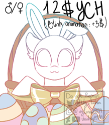 Size: 650x750   Tagged: safe, artist:thanhvy15599, oc, oc only, pony, basket, bow, commission, easter, easter egg, egg, holiday, pony in a basket, sketch, solo, ych sketch, your character here