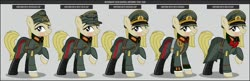 Size: 1280x413 | Tagged: safe, artist:brony-works, oc, oc only, earth pony, boots, clothes, earth pony oc, eyelashes, female, general, hat, helmet, mare, nazi germany, raised hoof, reference sheet, shoes, smiling, uniform, wehrmacht, world war ii