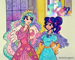 Size: 2236x1788 | Tagged: safe, artist:valeriamagicart, screencap, princess celestia, twilight sparkle, alicorn, human, make new friends but keep discord, clothes, dress, duo, evening gloves, female, gala dress, gloves, humanized, long gloves, marker drawing, scene interpretation, screencap reference, signature, traditional art, twilight sparkle (alicorn), winged humanization, wings