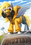 Size: 796x1126 | Tagged: safe, artist:zazush-una, derpy hooves, pegasus, pony, badass, boots, clothes, converse, coronavirus, delivery, delivery pony, epic derpy, food, gas mask, hoodie, mask, ppe, respirator, shoes, solo