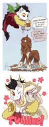 Size: 763x1947 | Tagged: safe, artist:hazurasinner, oc, oc:prince pandemonium, oc:princess radiance, draconequus, hybrid, pony, brother and sister, chocolate, comic, dialogue, female, filly, food, interspecies offspring, male, offspring, one eye closed, parent:discord, parent:princess celestia, parents:dislestia, paws, prank, siblings, stars, tongue out, underpaw, wink
