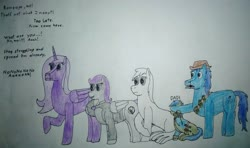 Size: 3214x1901 | Tagged: safe, artist:überreaktor, oc, oc:boo, oc:lacunae, oc:morning glory (project horizons), oc:p-21, oc:scotch tape, alicorn, earth pony, pegasus, pony, fallout equestria, fallout equestria: project horizons, artificial alicorn, covered eyes, covering eyes, cowboy hat, dashite, dashite brand, enclave uniform, fanfic art, grenade, hat, implied blackjack, implied rampage, offscreen action, photo, purple alicorn (fo:e), reaction, reaction image, shocked, shocked expression, text, traditional art, varying degrees of want