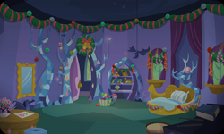 Size: 954x572   Tagged: safe, artist:mysteriousshine, background, basket, bauble, bedroom, bookcase, christmas wreath, flower, indoors, mirror, no pony, pillow, spike's room, twilight's castle, wreath
