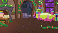 Size: 1136x640 | Tagged: safe, artist:mysteriousshine, a hearth's warming tail, background, cake, candle, christmas wreath, fireplace, food, indoors, night, no pony, plate, present, snow, stove, table, window, wreath