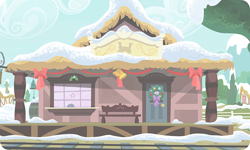 Size: 954x572 | Tagged: safe, artist:mysteriousshine, background, building, christmas wreath, mistleholly, no pony, ponyville train station, snow, train station, wreath