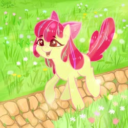 Size: 1000x1000 | Tagged: safe, artist:spoosha, apple bloom, earth pony, pony, adorabloom, blank flank, cute, female, filly, flower, open mouth, path, solo