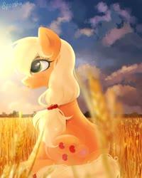 Size: 864x1080 | Tagged: safe, artist:spoosha, applejack, earth pony, pony, cloud, cute, female, food, hatless, jackabetes, mare, missing accessory, profile, sitting, sky, solo, straw in mouth, sun, wheat, wheat field