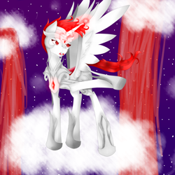 Size: 2550x2550 | Tagged: safe, artist:prismicdiamondart, oc, oc only, alicorn, alicorn oc, cloud, female, glowing horn, hoof shoes, horn, jewelry, mare, necklace, night, on a cloud, raised hoof, solo, stars