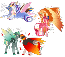 Size: 5000x4407 | Tagged: safe, artist:clay-bae, oc, oc:bonfire, oc:felix, oc:hotspot, oc:neapolitan, oc:saturn glow, oc:valentine, oc:valkyrie, pegasus, unicorn, absurd resolution, female, magical gay spawn, magical lesbian spawn, male, mare, nuzzling, oc x oc, offspring, parent:applejack, parent:daring do, parent:donut joe, parent:princess cadance, parent:princess celestia, parent:rainbow dash, parent:shining armor, parent:spitfire, parent:star tracker, parent:starlight glimmer, parent:stygian, parent:thunderlane, parent:trixie, parent:zephyr breeze, parents:appledash, parents:daringfire, parents:joelestia, parents:shiningcadance, parents:startrix, parents:zephyrlane, shipping, stallion, two toned wings, wings