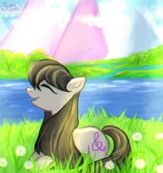 Size: 1019x1080 | Tagged: safe, artist:spoosha, octavia melody, earth pony, pony, cute, dandelion, eyes closed, female, flower, mare, open mouth, outdoors, profile, prone, river, solo, tavibetes