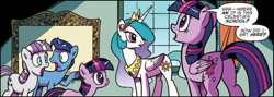 Size: 2458x878 | Tagged: safe, artist:pencils, idw, night light, princess celestia, twilight sparkle, twilight velvet, alicorn, unicorn, spoiler:comic, spoiler:comicidw2020, cropped, crown, duality, ethereal mane, female, filly, filly twilight sparkle, foal, jaw drop, jewelry, male, mare, open mouth, peytral, raised hoof, regalia, self ponidox, shocked, speech bubble, stallion, time paradox, twilight sparkle (alicorn), twilight's parents, unicorn twilight, younger