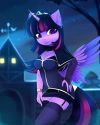 Size: 3284x4096   Tagged: safe, artist:magnaluna, twilight sparkle, alicorn, anthro, bracelet, breasts, chest fluff, cleavage, cloak, clothes, crown, cute, ear fluff, evening gloves, female, fingerless elbow gloves, fingerless gloves, garter belt, garters, gloves, hand on hip, jewelry, long gloves, mare, night, regalia, ring, sky, socks, solo, stockings, thigh highs, twiabetes, twilight sparkle (alicorn), wristband