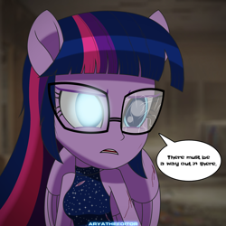 Size: 1920x1920 | Tagged: safe, artist:aryatheeditor, sci-twi, twilight sparkle, equestria girls, blue eyes, clothes, daily life, dark, digital art, disaster, geode of telekinesis, glass, glasses, glowing eyes, injured, injured wing, magical geodes, mall, ponied up, pony ears, sleeveless, solo, straight hair, torn clothes, wings, worried