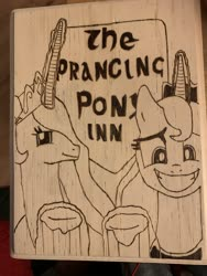Size: 4032x3024 | Tagged: safe, princess celestia, princess luna, alicorn, awkward smile, black and white, cider, crossover, female, grayscale, lord of the rings, monochrome, parody, pyrography, siblings, sign, sisters, smiling, smiling at you, tavern, the prancing pony, traditional art