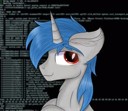 Size: 2489x2160 | Tagged: safe, artist:janelearts, oc, oc only, oc:ponywka, unicorn, bust, chest fluff, commission, ear fluff, linux, looking at you, male, solo, stallion