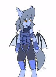 Size: 1496x2048   Tagged: safe, alternate version, artist:omegapony16, oc, oc:oriponi, anthro, bat pony, unguligrade anthro, arm hooves, armor, bat pony oc, bat wings, clothes, colored, female, flack jacket, scarf, signature, soldier, solo, vest, wings