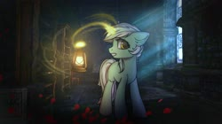 Size: 3000x1685 | Tagged: safe, artist:reterica, lyra heartstrings, pony, unicorn, amnesia the dark descent, crossover, flower, lantern, petals, rose, solo