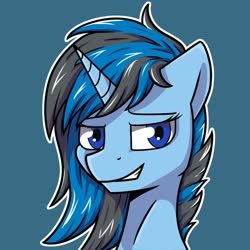 Size: 1280x1280 | Tagged: safe, artist:jellysiek, oc, oc only, pony, unicorn, simple background, smiling, solo
