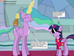 Size: 4513x3429 | Tagged: safe, artist:eagc7, princess celestia, twilight sparkle, alicorn, pony, the last problem, brush, clothes, comic, dialogue, disguise, duo, duo female, female, hawaiian shirt, ko-fi, mare, paint, paint on fur, patreon, plot twist, shade, shirt, text, that explains everything, throne room, twilight sparkle (alicorn), what a twist