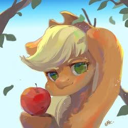 Size: 650x650   Tagged: safe, artist:小huhu狸君呀, applejack, earth pony, pony, apple, bust, chest fluff, female, food, leaf, looking at you, mare, no pupils, solo, tree branch