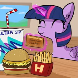 Size: 2250x2250 | Tagged: safe, artist:tjpones, twilight sparkle, alicorn, pony, burger, cute, drink, eyes closed, female, food, french fries, glowing horn, hay burger, high res, horn, levitation, magic, mare, pun, smiling, solo, solo jazz, telekinesis, this will end in weight gain, twiabetes, twilight burgkle, twilight sparkle (alicorn)