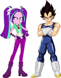 Size: 1468x1879 | Tagged: safe, aria blaze, equestria girls, crossed arms, crossover, dragon ball z, hand on hip, simple background, tsundaria, tsundere, vegeta, white background